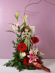 An angel to watch over you with fresh flowers 15-11