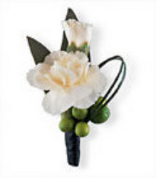 Carnation boutonniere w/ hypericum berries from Krupp Florist, your local Belleville flower shop