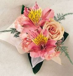 Alstromeria and Rose corsage from Krupp Florist, your local Belleville flower shop