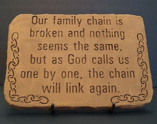 Our family chain is broken stone-medium SS14-1 from Krupp Florist, your local Belleville flower shop