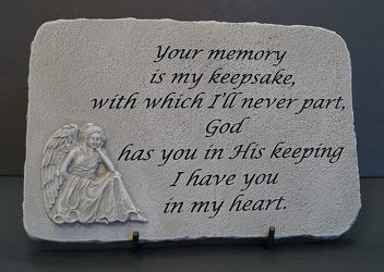 Your memory is my keepsake stone-medium SS14-8 from Krupp Florist, your local Belleville flower shop