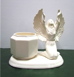 White glossy kneeling angel with vase  from Krupp Florist, your local Belleville flower shop