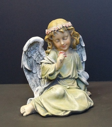 Angel15-1 Sitting angel with rose from Krupp Florist, your local Belleville flower shop