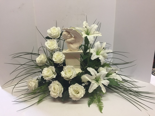 Krupp florist your online flower shop belleville il angel on pedestal with silks angel17 6sty from krupp florist your local belleville flower click here for larger image mightylinksfo