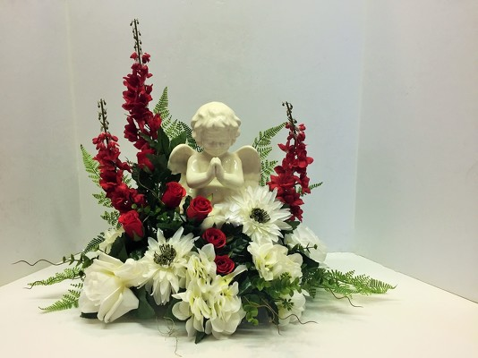 Krupp florist your online flower shop belleville il ceramic angel stylized with silks angel18 1sty from krupp florist your local belleville click here for larger image mightylinksfo