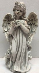 Angel holding bird-angel19-01 from Krupp Florist, your local Belleville flower shop