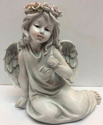 Sitting angel with bird-angel19-03 from Krupp Florist, your local Belleville flower shop