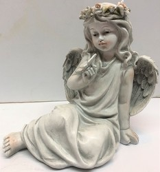 Sitting angel with butterfly-angel19-04 from Krupp Florist, your local Belleville flower shop