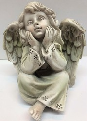 Sitting angel holding face-angel19-05 from Krupp Florist, your local Belleville flower shop
