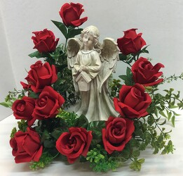 Angel adorned with silk roses angel20-1sty from Krupp Florist, your local Belleville flower shop
