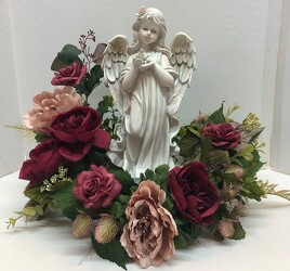 Angel adorned with silks angel20-2sty from Krupp Florist, your local Belleville flower shop