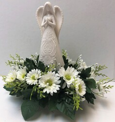Angel adorned with silks angel20-4sty from Krupp Florist, your local Belleville flower shop