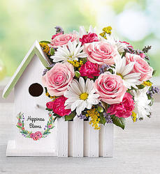Happiness Blooms Birdhouse (Pink)-blm161875 from Krupp Florist, your local Belleville flower shop