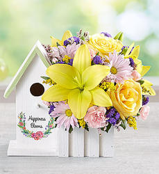 Happiness Blooms Birdhouse (Yellow)-blm161876 from Krupp Florist, your local Belleville flower shop