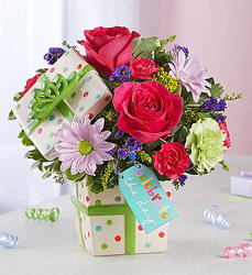 Happy Birthday Present Bouquet blm167008 from Krupp Florist, your local Belleville flower shop