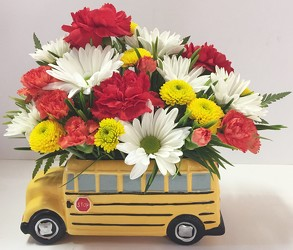 School bus arrangement-bus-01 from Krupp Florist, your local Belleville flower shop
