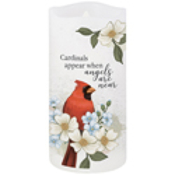 Cardinals appear flicker candle-cards from Krupp Florist, your local Belleville flower shop