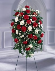 Crimson & White Standing Spray from Krupp Florist, your local Belleville flower shop