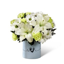 The FTD Tiny Miracle New Baby Boy Bouquet from Krupp Florist, your local Belleville flower shop
