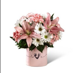 The FTD Tiny Miracle New Baby Girl Bouquet from Krupp Florist, your local Belleville flower shop