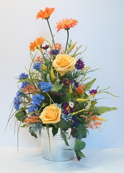 Krupp galvanized bucket arrangement hd15-15 from Krupp Florist, your local Belleville flower shop