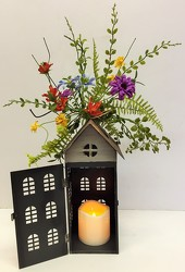 Tall lantern house with silk swag from Krupp Florist, your local Belleville flower shop