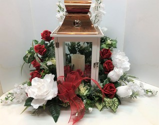 Lantern with silks-large lantern-1901 from Krupp Florist, your local Belleville flower shop