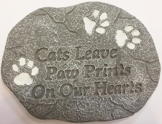 Cats leave paw prints stone-pet-cats-paws from Krupp Florist, your local Belleville flower shop