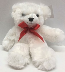 Small white bear plush-smwhbr from Krupp Florist, your local Belleville flower shop