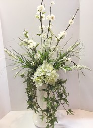 Silk-white with greenery-silk-001  from Krupp Florist, your local Belleville flower shop