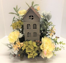 Tall lantern house with silks from Krupp Florist, your local Belleville flower shop