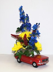 65' Ford Mustang silk arrg.-silk16-17 from Krupp Florist, your local Belleville flower shop