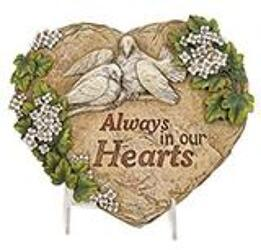 Always in our hearts plaque ss-in-hearts from Krupp Florist, your local Belleville flower shop