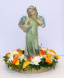 Angel with birdfeeder with silk wreath-ss16sty-2a from Krupp Florist, your local Belleville flower shop