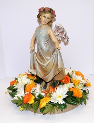 Angel with skirt bird feeder w/silk wreath-ss161sty-2 from Krupp Florist, your local Belleville flower shop