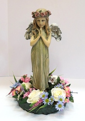Praying angel with wreath of silk flowers-ss161sty-3 from Krupp Florist, your local Belleville flower shop