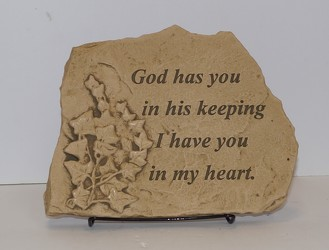 ss16s-24 God has you in his keeping stone from Krupp Florist, your local Belleville flower shop