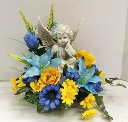 Angel with silk floral ss16ssty-4 from Krupp Florist, your local Belleville flower shop