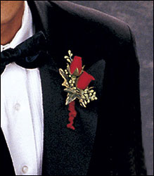 Red-Hot Roses Boutonniere from Krupp Florist, your local Belleville flower shop