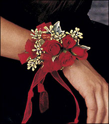 Red-Hot Roses Wristlet from Krupp Florist, your local Belleville flower shop