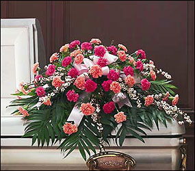 Delicate Pink Casket Spray from Krupp Florist, your local Belleville flower shop