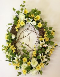 Wreath-white/yellow-wreath-55 from Krupp Florist, your local Belleville flower shop