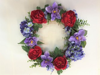 Wreath-red and purple-wreath-82 from Krupp Florist, your local Belleville flower shop
