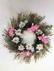 Wreath-pink and white-wreath-83 from Krupp Florist, your local Belleville flower shop