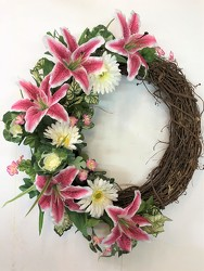 Wreath-pink and white-wreath-84 from Krupp Florist, your local Belleville flower shop